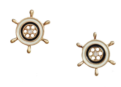 Nautical Ship Wheel Stud Earrings - My Jewel Candy