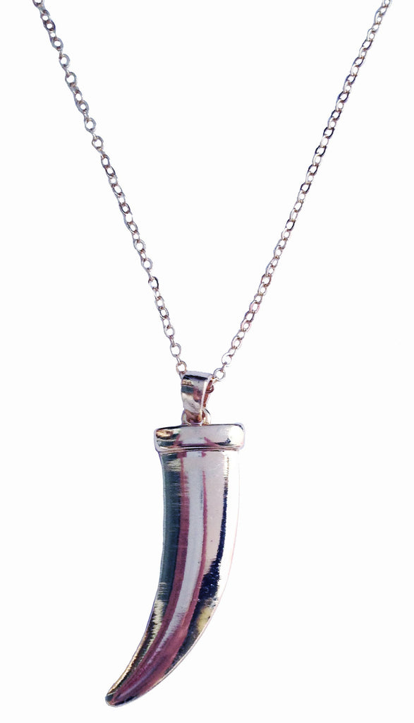Silver Tusk Pendant Necklace - My Jewel Candy - 1