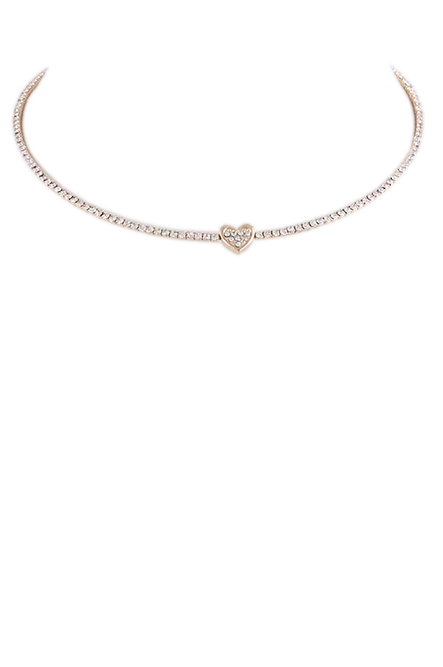 Crystal Heart Collar Necklace - My Jewel Candy - 1