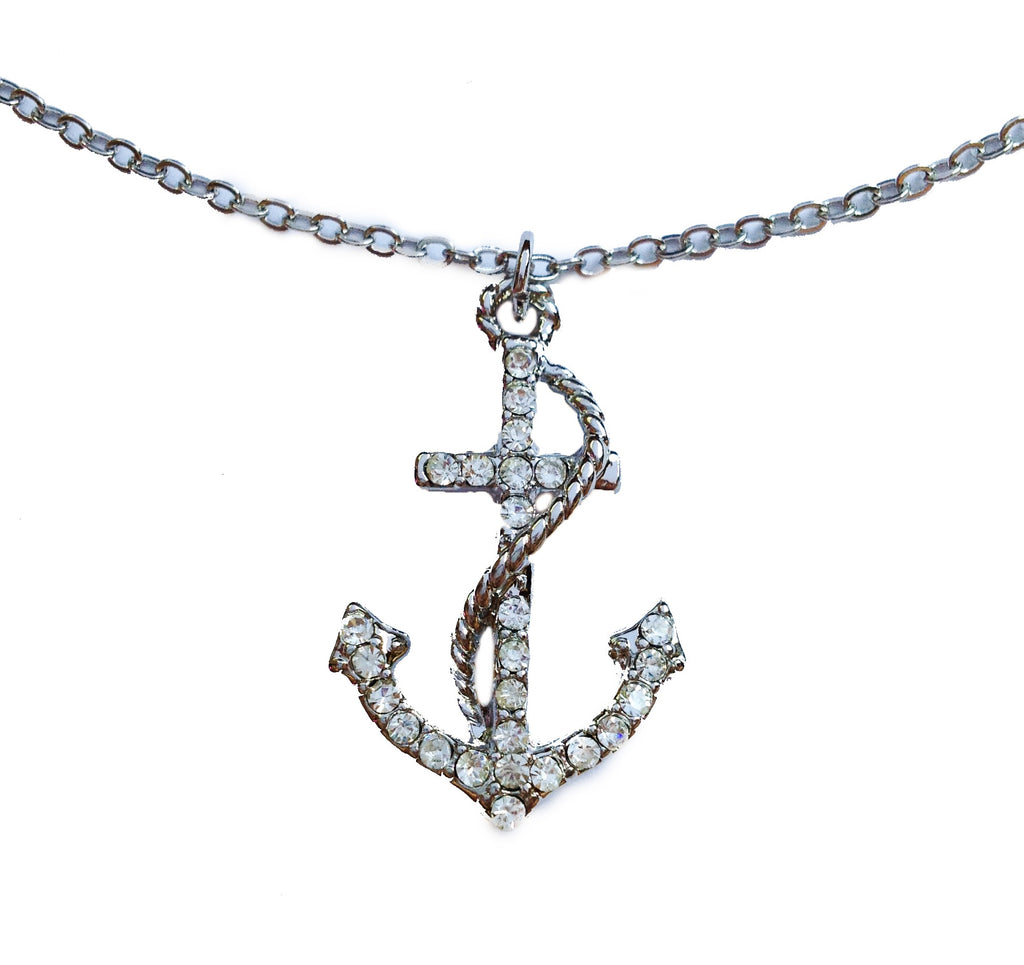 Silver Crystal Encrusted Anchor Pendant Necklace - My Jewel Candy - 1
