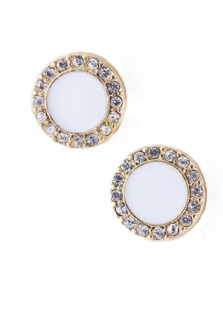 Round White Stud Earrings with Crystals - My Jewel Candy