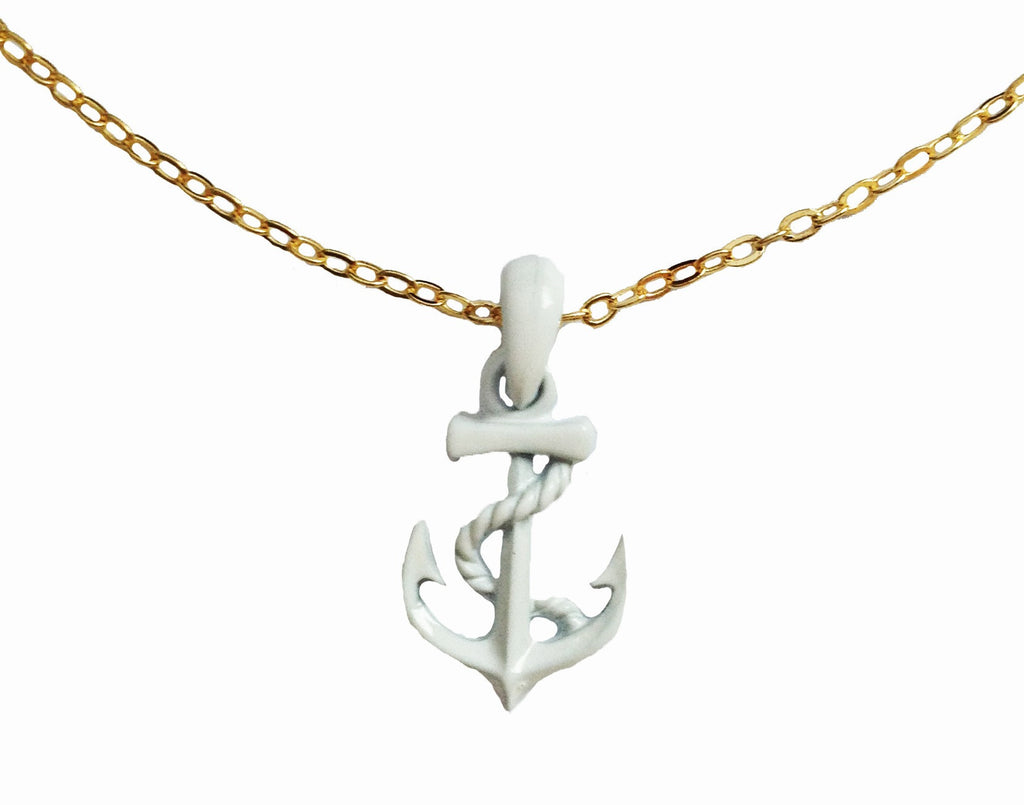Captain of the Ship White Anchor Necklace - My Jewel Candy