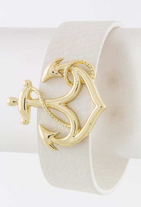 White Anchor Wrap Bracelet - My Jewel Candy - 1