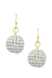 Cream Dangle Disco Ball Earrings - My Jewel Candy - 6
