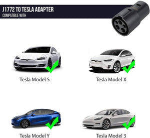 J1772 to Tesla Charging Adapter, 60A & 250V AC - Compatible with SAE J1772 Chargers
