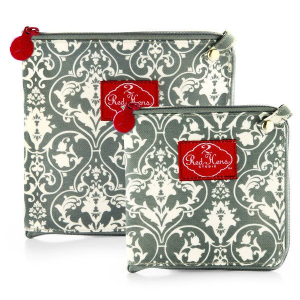 2 Red Hens Snack Bags Gray Damask