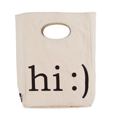 fluf Organic Cotton Lunch Bag - Hi :)