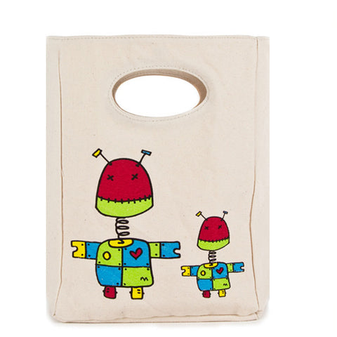 fluf Organic Cotton Lunch Bag - Robot
