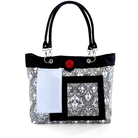 2 Red Hens Rooster Diaper Bag - Gray Damask