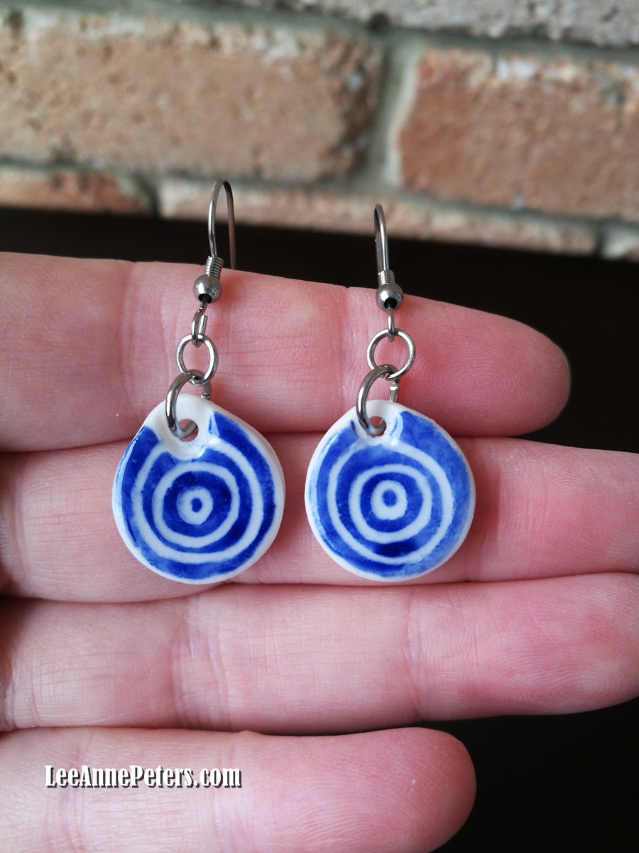 Earrings - hook style - circles