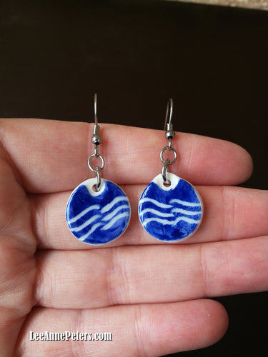 Earrings - hook style - water