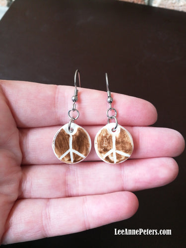 Earrings - hook style - peace