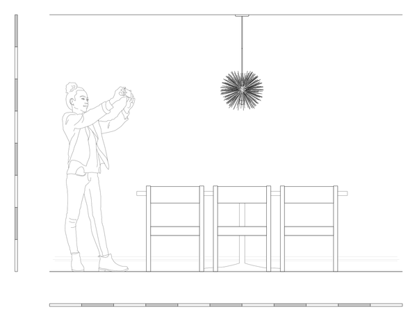 Urchin chandelier ceiling light dining room table scale drawing