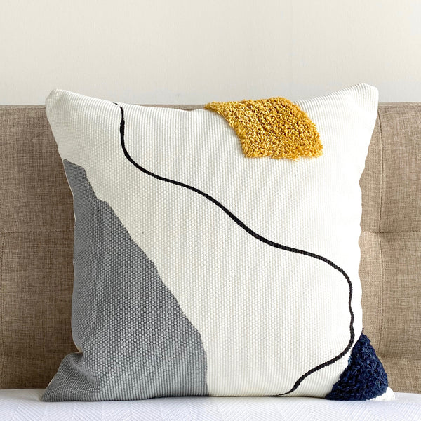 "Blot Abstract Shag Pillow Cover - 18"" x 18"""