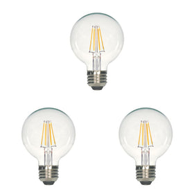 G25 LED bulb clear 500 lumens 2700K enclosed fixtures 3 pack