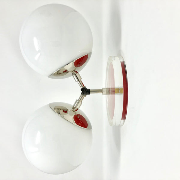 "wall lights mid century modern color visage sconce 6"" nickel finish white globe light fixture"