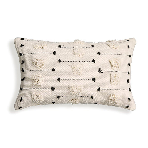"Threaded Swedish Tuft Pillow Cover White Black 12""x20"""