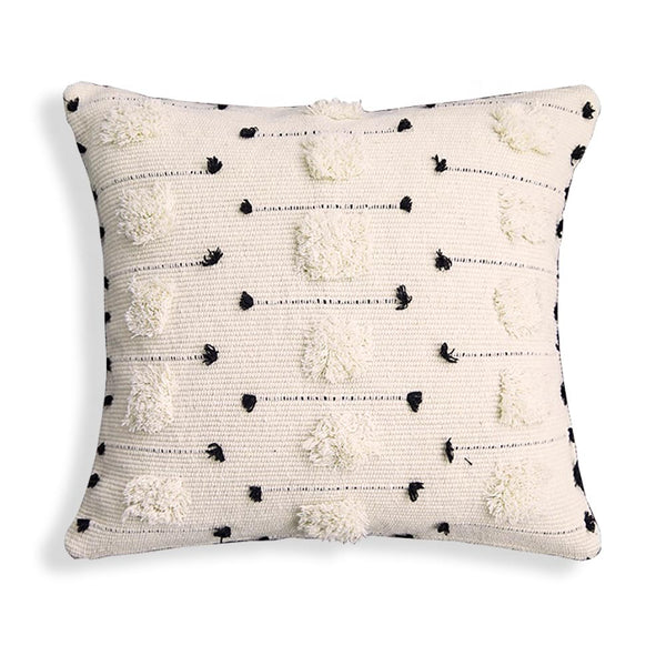 "Threaded Swedish Tuft Pillow Cover White Black 18""x18"""