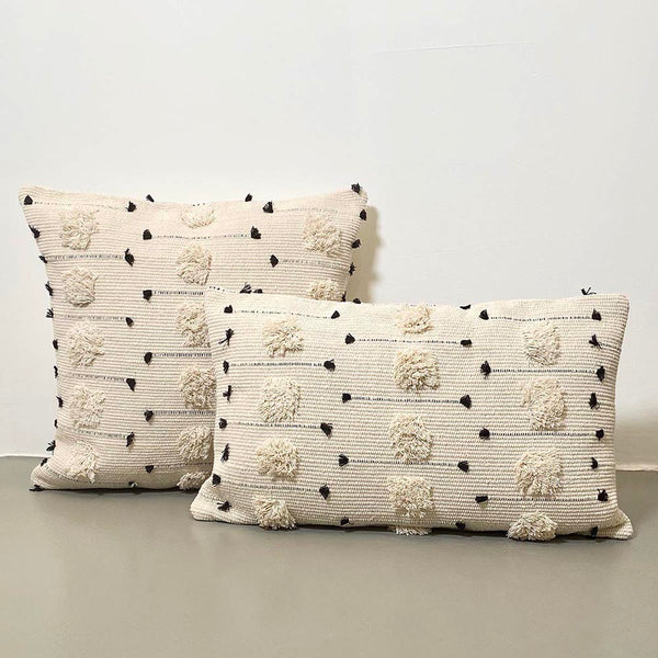 Threaded Swedish Tuft Pillow Cover White Black _hover