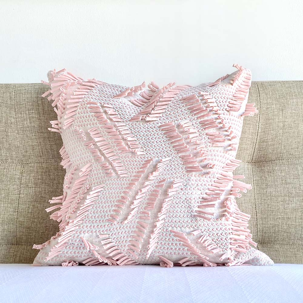 rose quartz Frill Boho Fringe Pillow Cover Dutton Brown