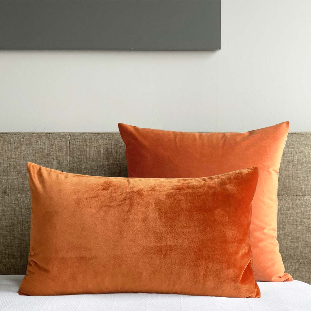 velvet pillow cover copper orange Dutton Brown