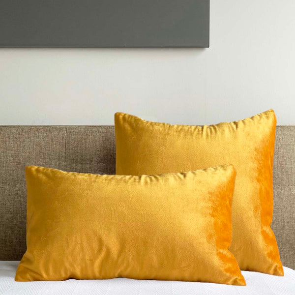 velvet pillow cover yolk yellow Dutton Brown