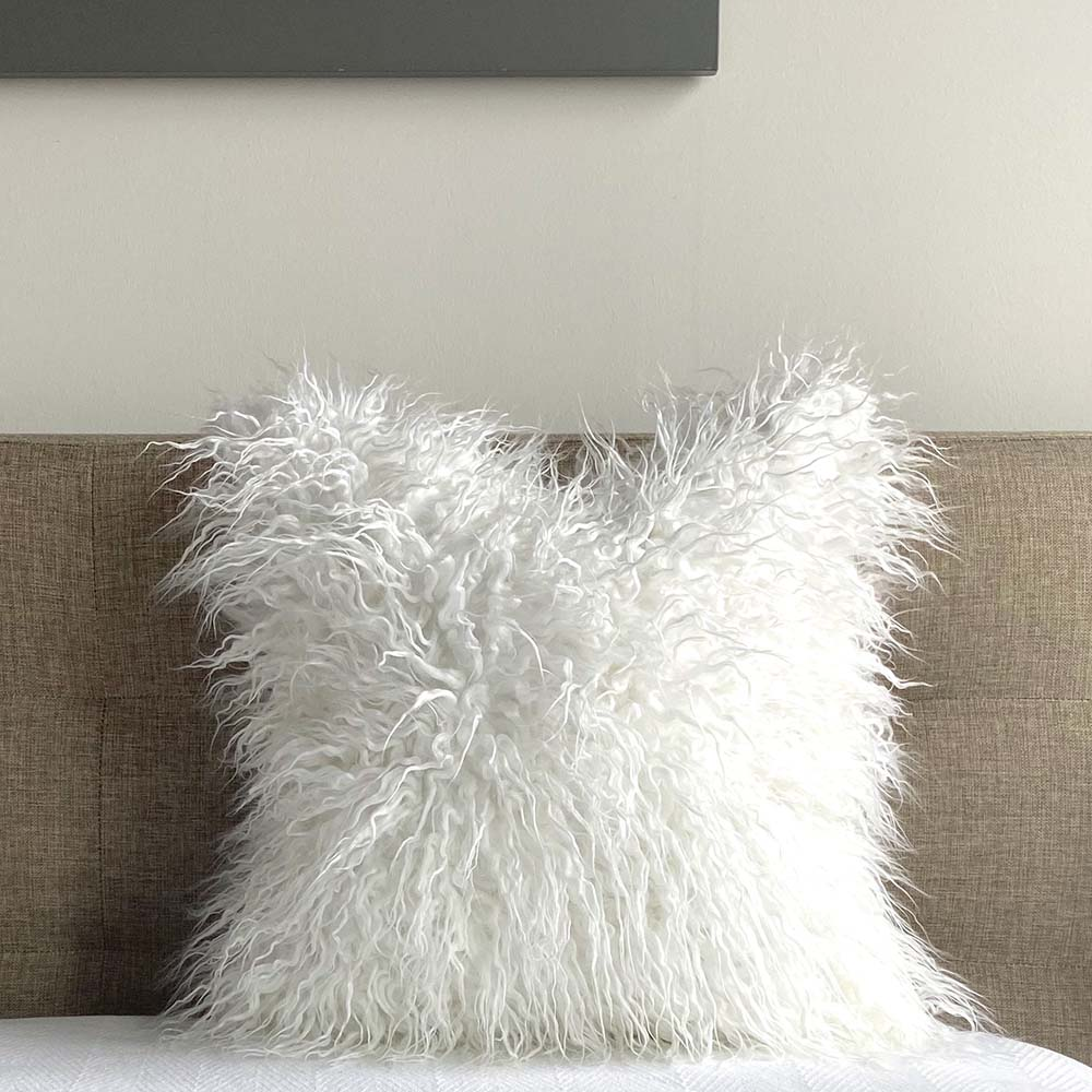 mongolian fur pillow cover white arctic fox Dutton Brown