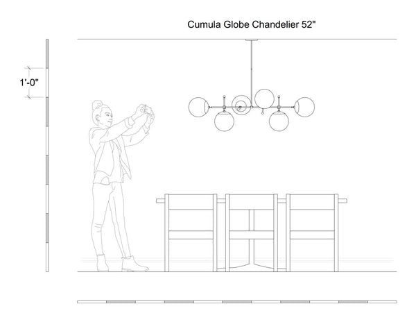 Cumula globe chandelier scale drawing
