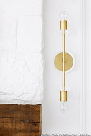 brass acrylic bianca wall sconce lighting by Dutton Brown. Space by Natalie Myers for Room Secret. Photo by Amanda Villanueva. _hover