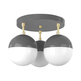 brass charcoal color ballsy globe flush mount dutton brown design lighting _hover
