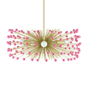 pink acrylic beaded urchin chandelier 27 inch dutton brown lighting