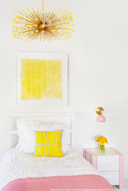 yellow brass beaded urchin chandelier lighting by Dutton Brown. Kidsroom space by Room Secret. Photo by Amanda Villanueva. _hover