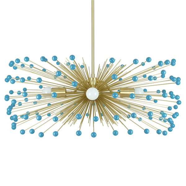 Brass and Aqua beaded Urchin Chandelier 31 Inch Dutton Brown Lighting