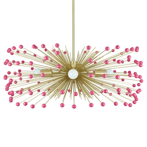 Brass and Pink Beaded Urchin Chandelier 31 Inch Dutton Brown Lighting