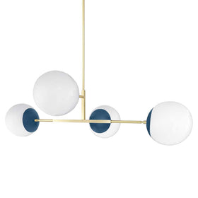 brass and slate blue big status globe chandelier dutton brown lighting