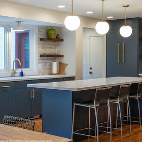 white brass cadbury flush mount kitchen lighting by Dutton Brown. Space by McDonald Remodeling. _hover