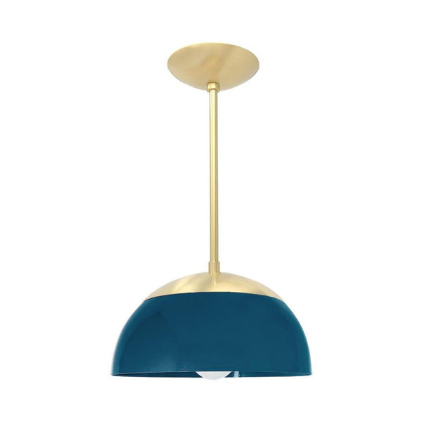 brass slate blue cadbury dome flush mount 12'' dutton brown design lighting