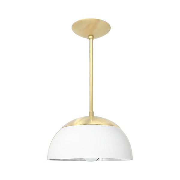 brass white cadbury dome pendant 12'' dutton brown design lighting