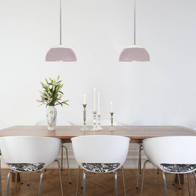 "nickel blush pink cadbury pendant 12"" dome shade lighting dining room scene dutton brown _hover"
