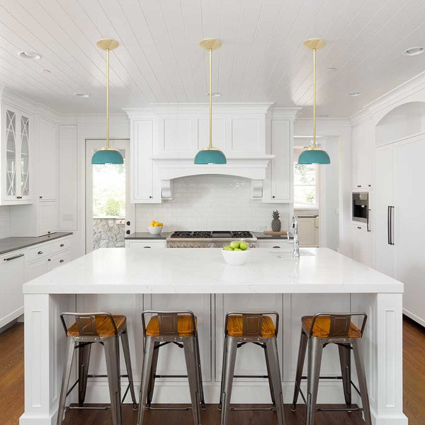 "_hover brass teal cadbury dome pendant 8"" lighting dutton brown midcentury modern lighting"