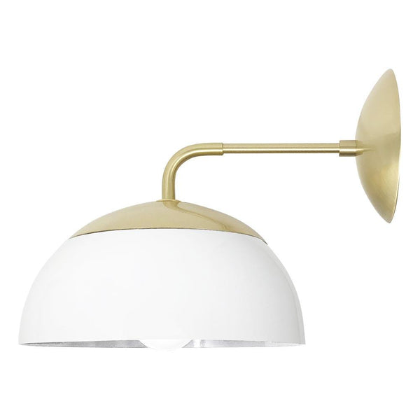 "white brass color cadbury dome sconce 10"" wall light dutton brown"