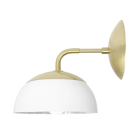 brass white color cadbury dome wall sconce 8'' dutton brown lighting