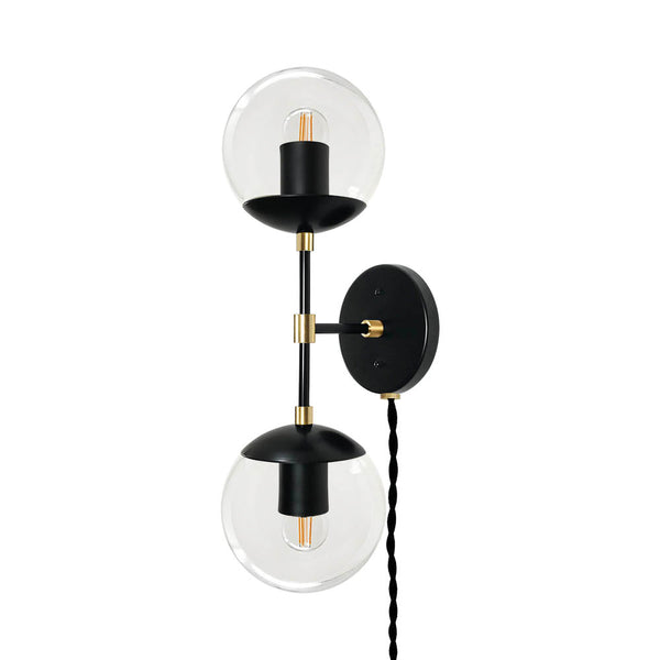 black brass cap double globe plug-in sconce lighting dutton brown