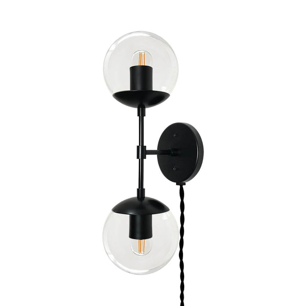 black cap double globe plug-in sconce lighting dutton brown