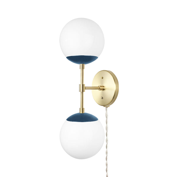 brass slate blue cap double globe plug-in sconce 6 inch dutton brown lighting _hover