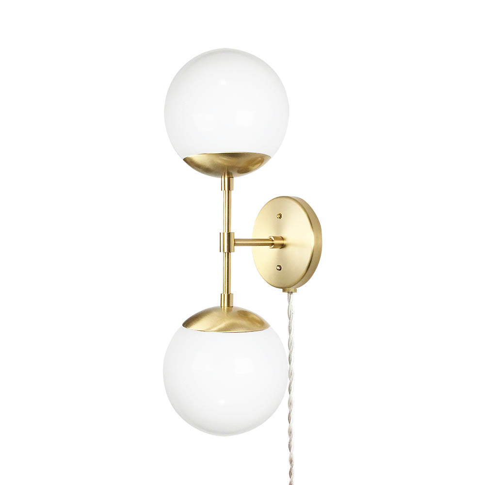 brass cap double globe plug-in sconce lighting dutton brown