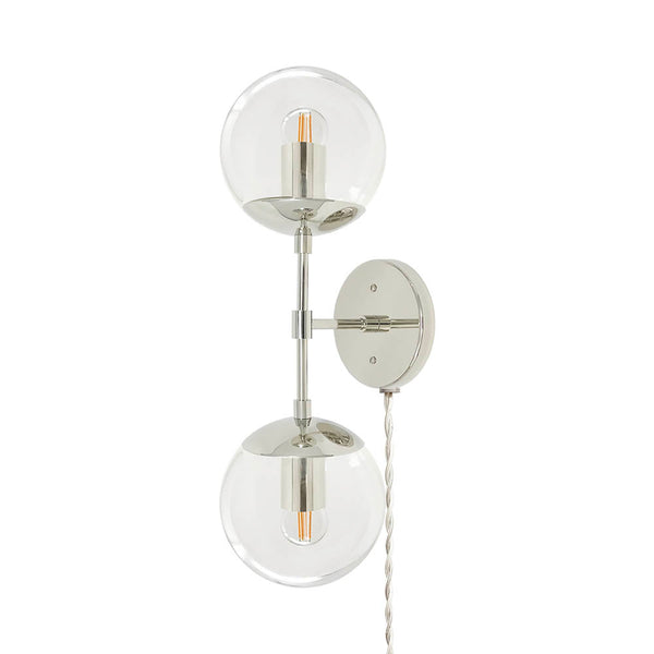 nickel cap double globe plug-in sconce lighting dutton brown