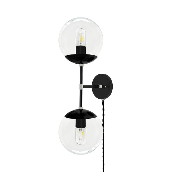 black and nickel cap double globe plug in wall sconce 8 inch dutton brown lighting