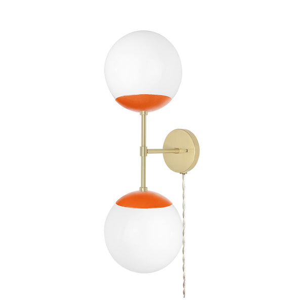brass orange cap double globe plug-in sconce 8 inch dutton brown lighting _hover