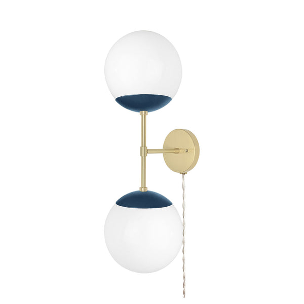brass slate blue cap double globe plug-in sconce 8 inch dutton brown lighting
